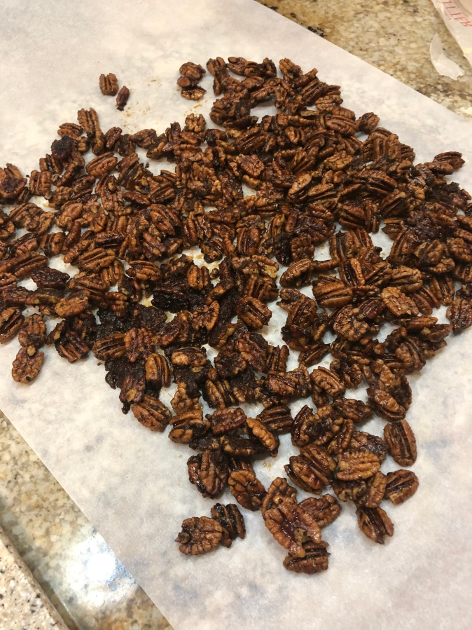 cinnamon and spice candied pecans